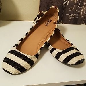Blue and cream striped canvas ballet flats